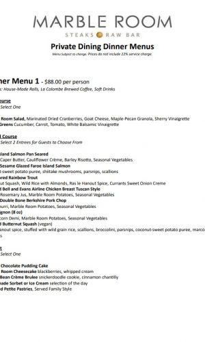 Private dining Dinner Menu